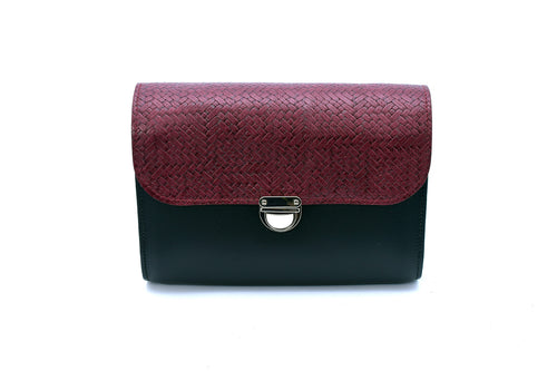 Burgundy Weave Handmade Womens Small Leather Satchel Cross Body Classic Handbag. Can be personalised with initials.
