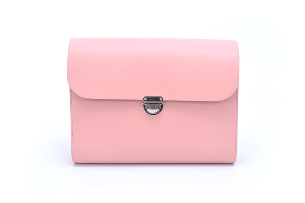 Baby Pink Handmade Womens Large Leather Satchel Cross body Classic Handbag. Can be personalised with initials.