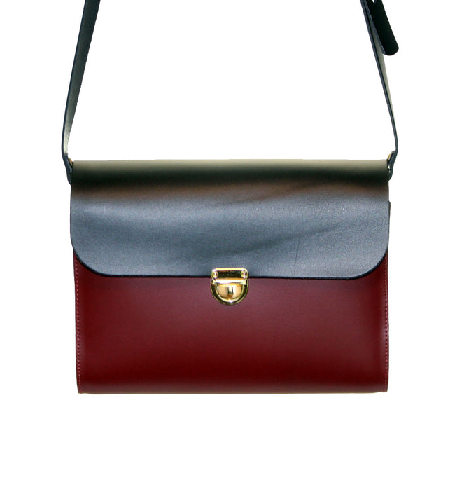 Black and Burgundy Handmade Womens Large Leather Satchel Cross Body Classic Handbag. Can be personalised with initials.