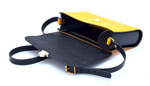 Black and Yellow Handmade Womens Large Leather Satchel Cross Body Classic Handbag. Can be personalised with initials.