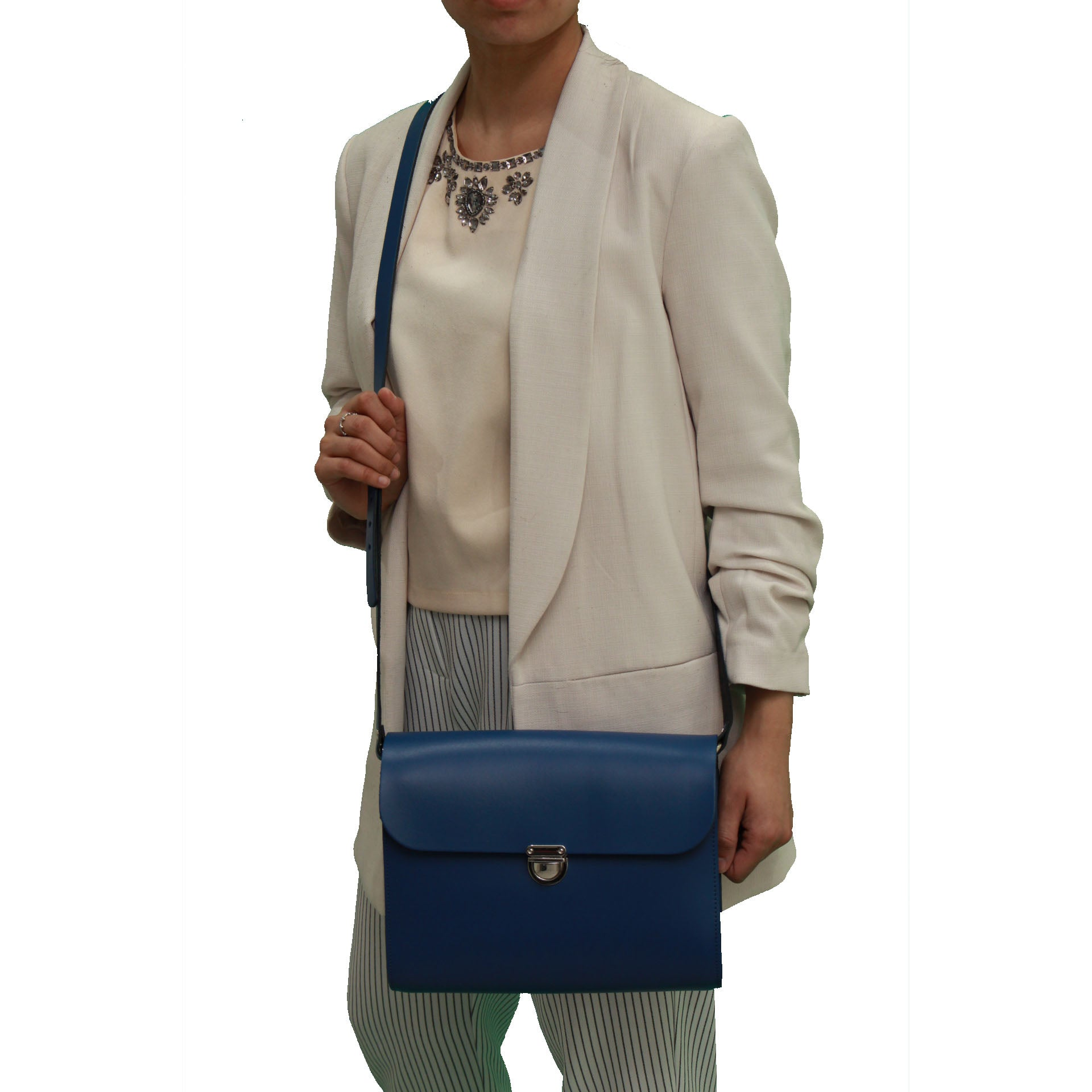Blue Handmade Womens Large Leather Satchel Cross Body Classic Handbag. Can be personalised with initials.