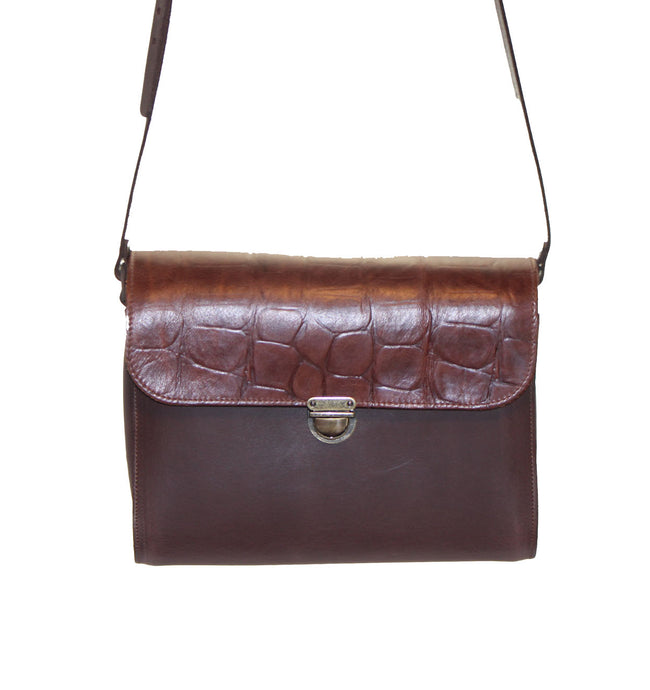 Brown Croc Handmade Womens Large Leather Satchel Cross Body Classic Handbag. Can be personalised with initials.