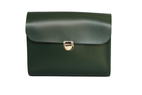 Bottle Green Handmade Womens Large Leather Satchel Cross Body Classic Handbag. Can be personalised with initials.