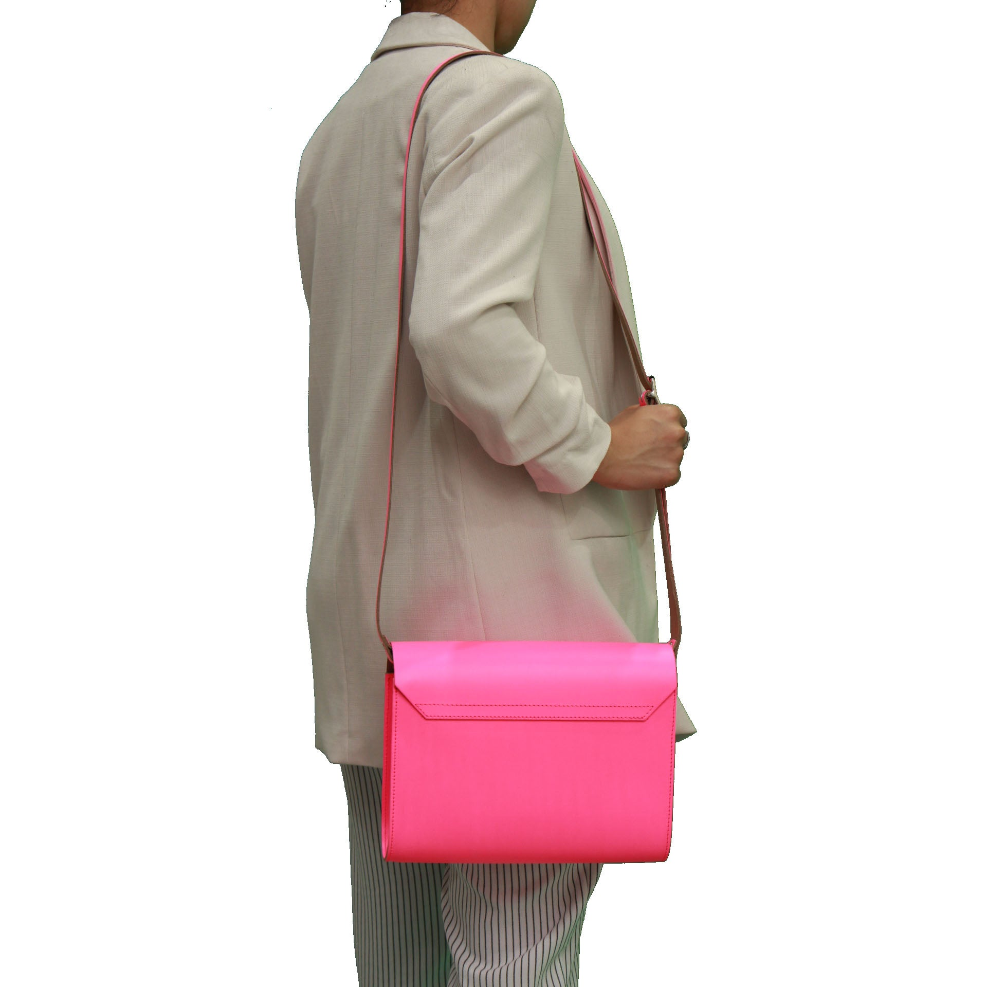 Fluorescent (neon) Pink Handmade Womens Large Leather Satchel Cross body Classic Handbag. Can be personalised with initials.