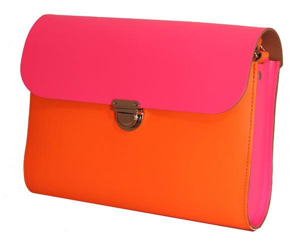 Fluorescent (neon) Pink and Orange Handmade Womens Large Leather Satchel Cross body Classic Handbag. Can be personalised with initials.