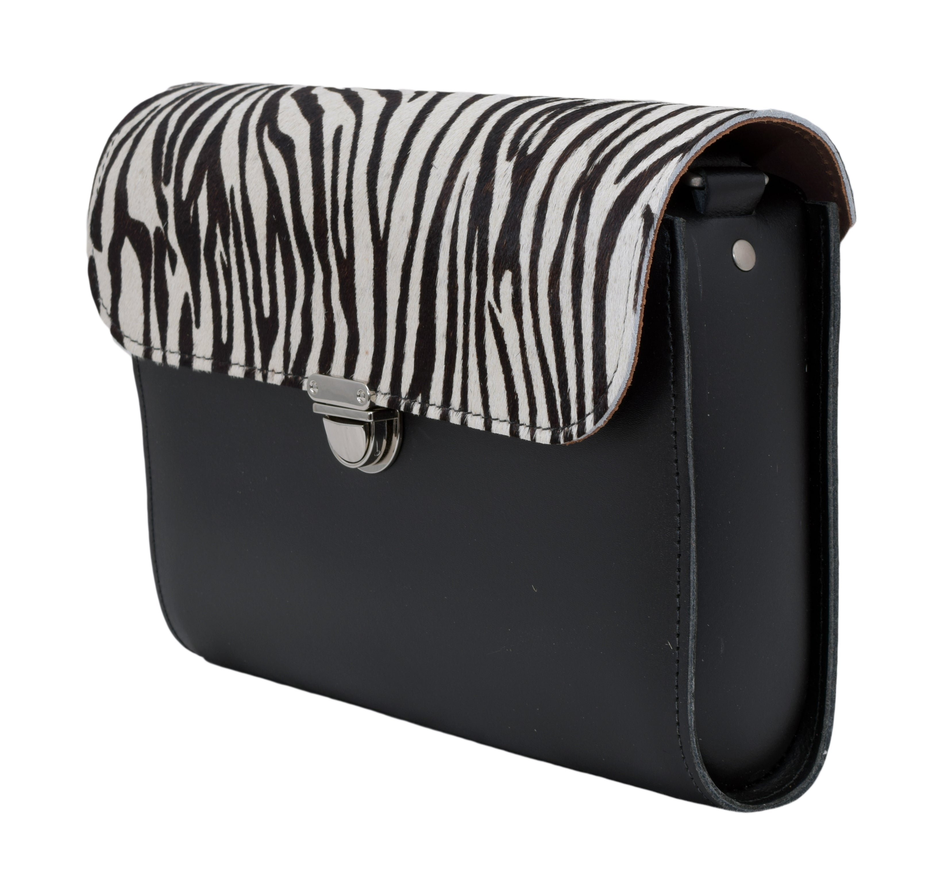 Zebra Cowhide Handmade Womens Large Leather Satchel Cross body Classic Handbag. Can be personalised with initials.