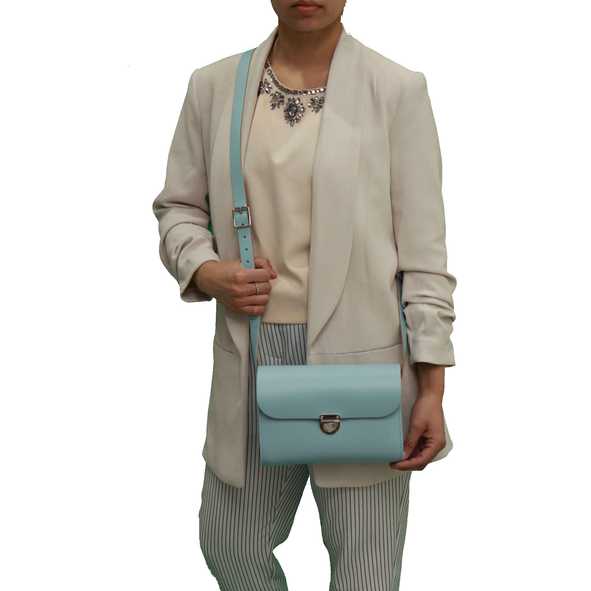 Baby Blue Handmade Womens Small Leather Satchel Cross Body Classic Handbag. Can be personalised with initials.