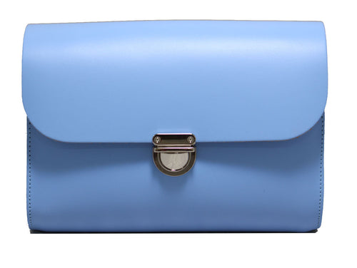 Bellflower Blue Handmade Womens Small Leather Satchel Cross Body Classic Handbag. Can be personalised with initials.