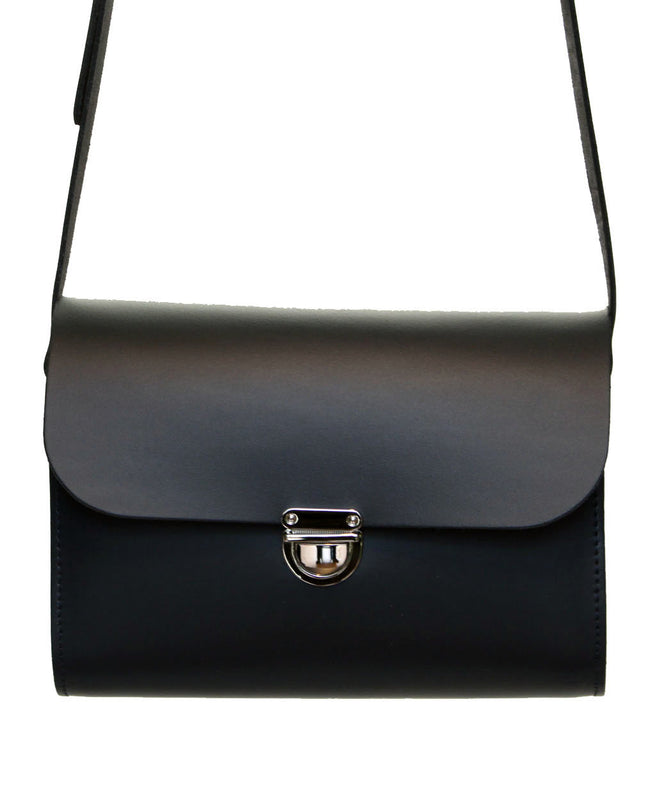 Black Handmade Womens Small Leather Satchel Cross Body Classic Handbag. Can be personalised with initials.