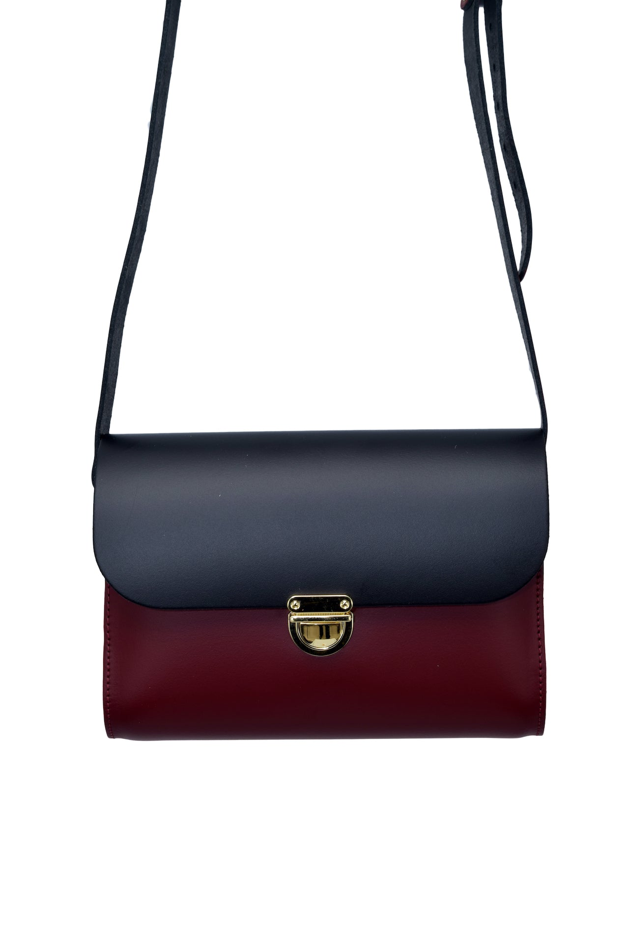 Black and Burgundy Handmade Womens Small Leather Satchel Cross Body Classic Handbag. Can be personalised with initials.