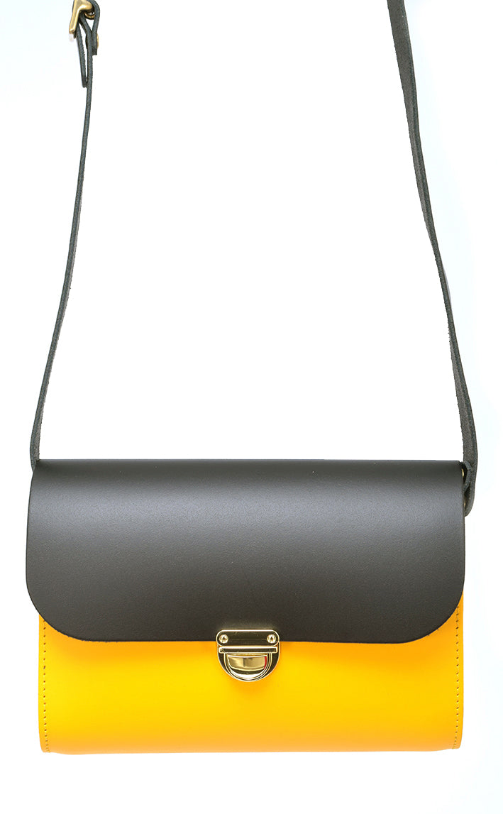Black and Yellow Cowhide Handmade Womens Small Leather Satchel Cross Body Classic Handbag. Can be personalised with initials.
