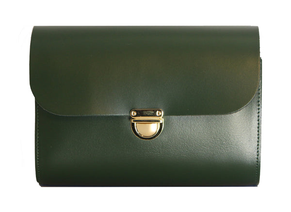 Bottle Green Handmade Womens Small Leather Satchel Cross Body Classic Handbag. Can be personalised with initials.
