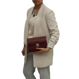Burgundy Handmade Womens Small Leather Satchel Cross Body Classic Handbag. Can be personalised with initials.