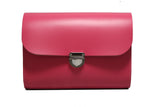 Fuchsia pink Handmade Womens Small Leather Satchel Cross Body Classic Handbag. Can be personalised with initials.