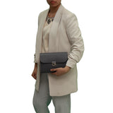 Grey Handmade Womens Small Leather Satchel Cross Body Classic Handbag. Can be personalised with initials.
