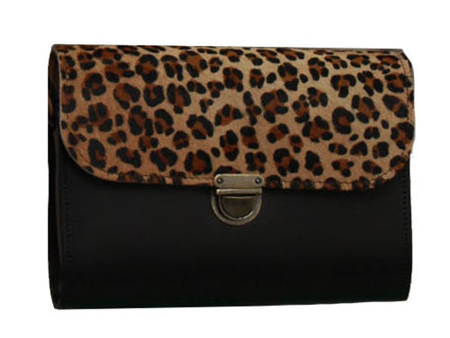 Leopard Cowhide Black Handmade Womens Small Leather Satchel Cross Body Classic Handbag. Can be personalised with initials.