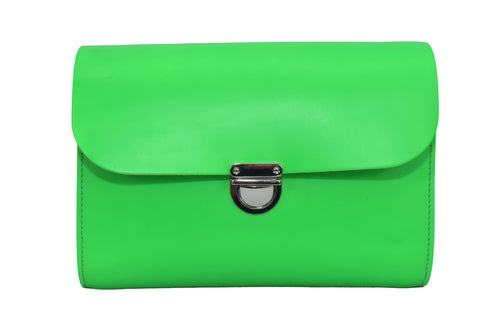 Fluorescent (neon) Green Handmade Womens Small Leather Satchel Cross Body Classic Handbag. Can be personalised with initials.