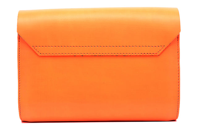 Fluorescent (neon) Orange Handmade Womens Small Leather Satchel Cross Body Classic Handbag. Can be personalised with initials.