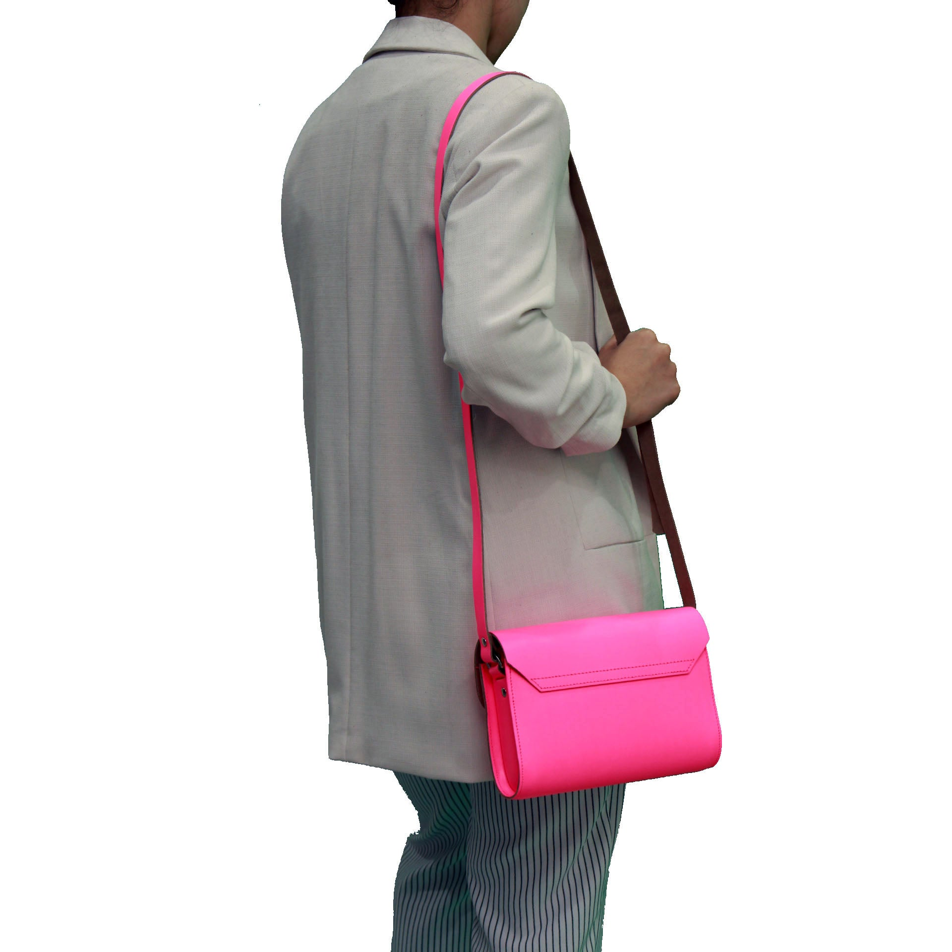 Fluorescent (neon) pink Handmade Womens Small Leather Satchel Cross Body Classic Handbag. Can be personalised with initials.