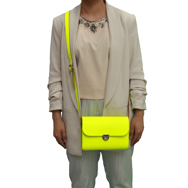 Fluorescent (neon) Yellow Handmade Womens Small Leather Satchel Cross Body Classic Handbag. Can be personalised with initials.