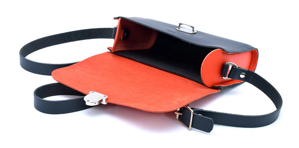 Navy and Orange Handmade Womens Small Leather Satchel Cross Body Classic Handbag. Can be personalised with initials.
