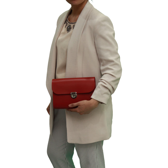 Red Handmade Womens Small Leather Satchel Cross Body Classic Handbag. Can be personalised with initials.