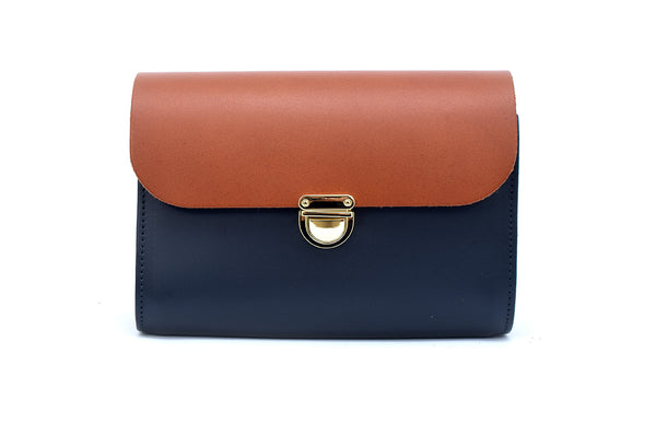 Navy and Tan Handmade Womens Small Leather Satchel Cross Body Classic Handbag. Can be personalised with initials.