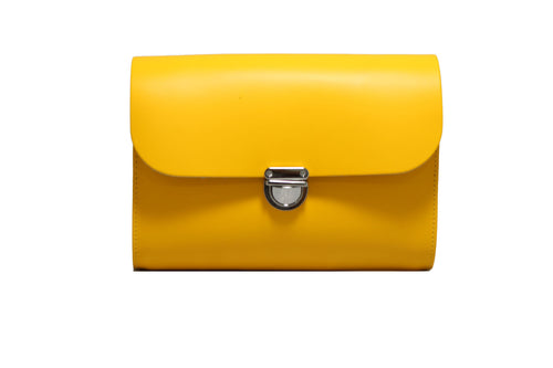 Yellow Handmade Womens Small Leather Satchel Cross Body Classic Handbag. Can be personalised with initials.