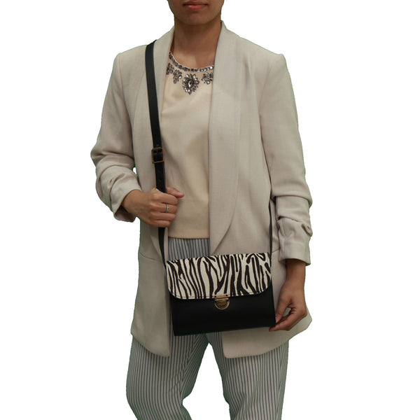 Zebra Cowhide Handmade Womens Small Leather Satchel Cross Body Classic Handbag. Can be personalised with initials.
