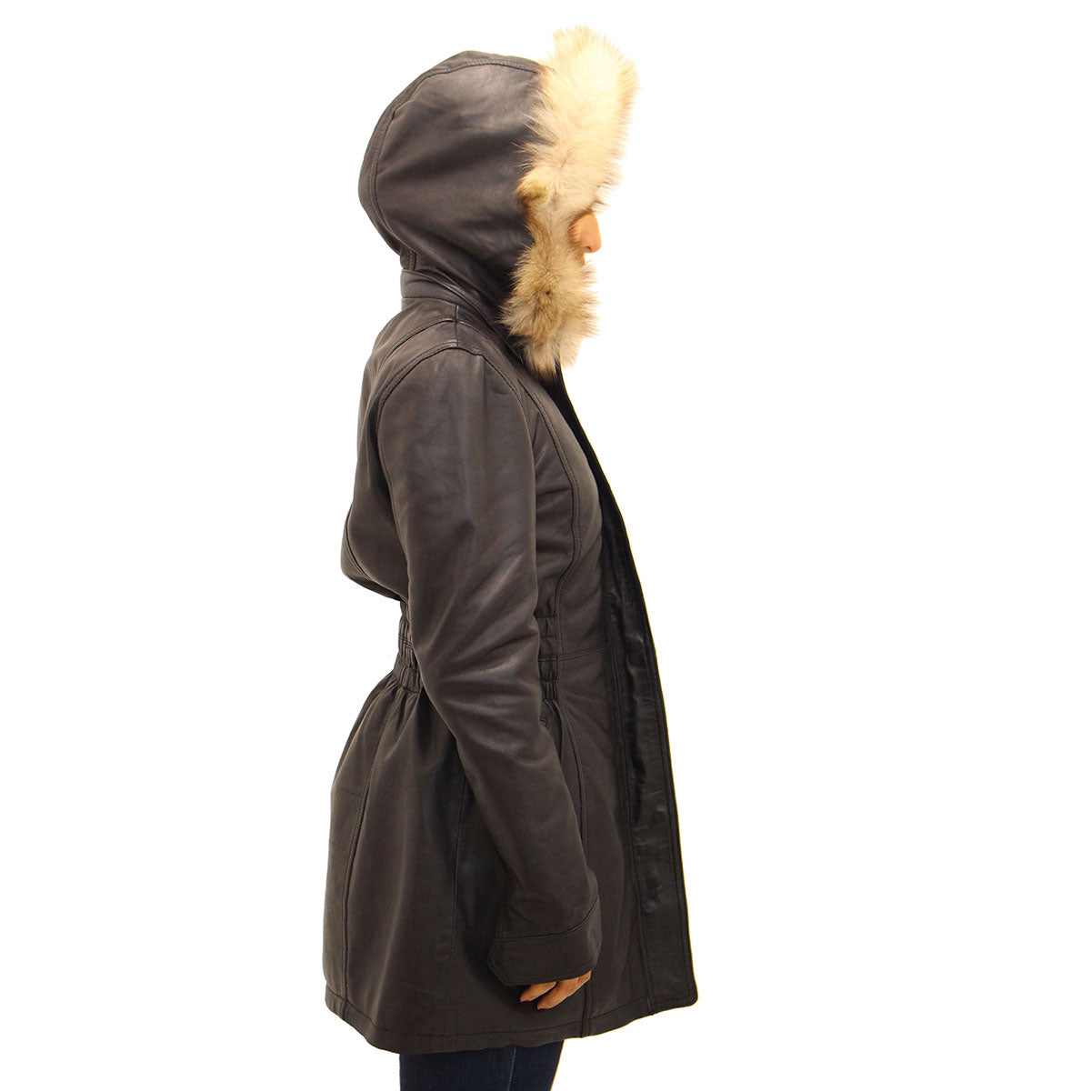 Womens real leather urban fitted black coat with fur hood