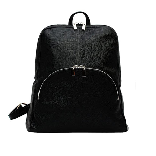 Black leather backpack with three external compartments and silver hardware