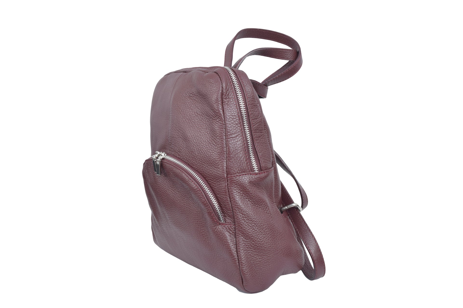 Burgundy leather backpack with three external compartments and silver hardware