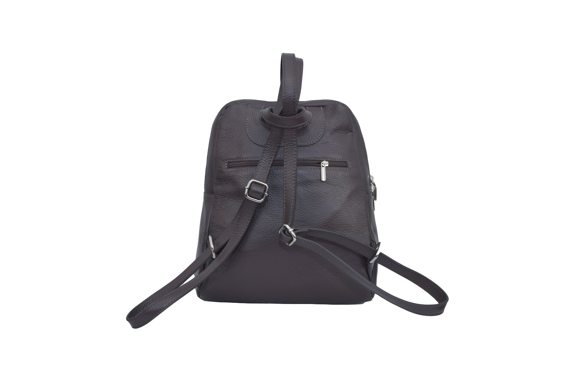 Dark Brown leather backpack with three external compartments and silver hardware