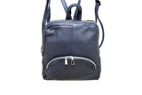 Navy leather backpack with three external compartments and silver hardware