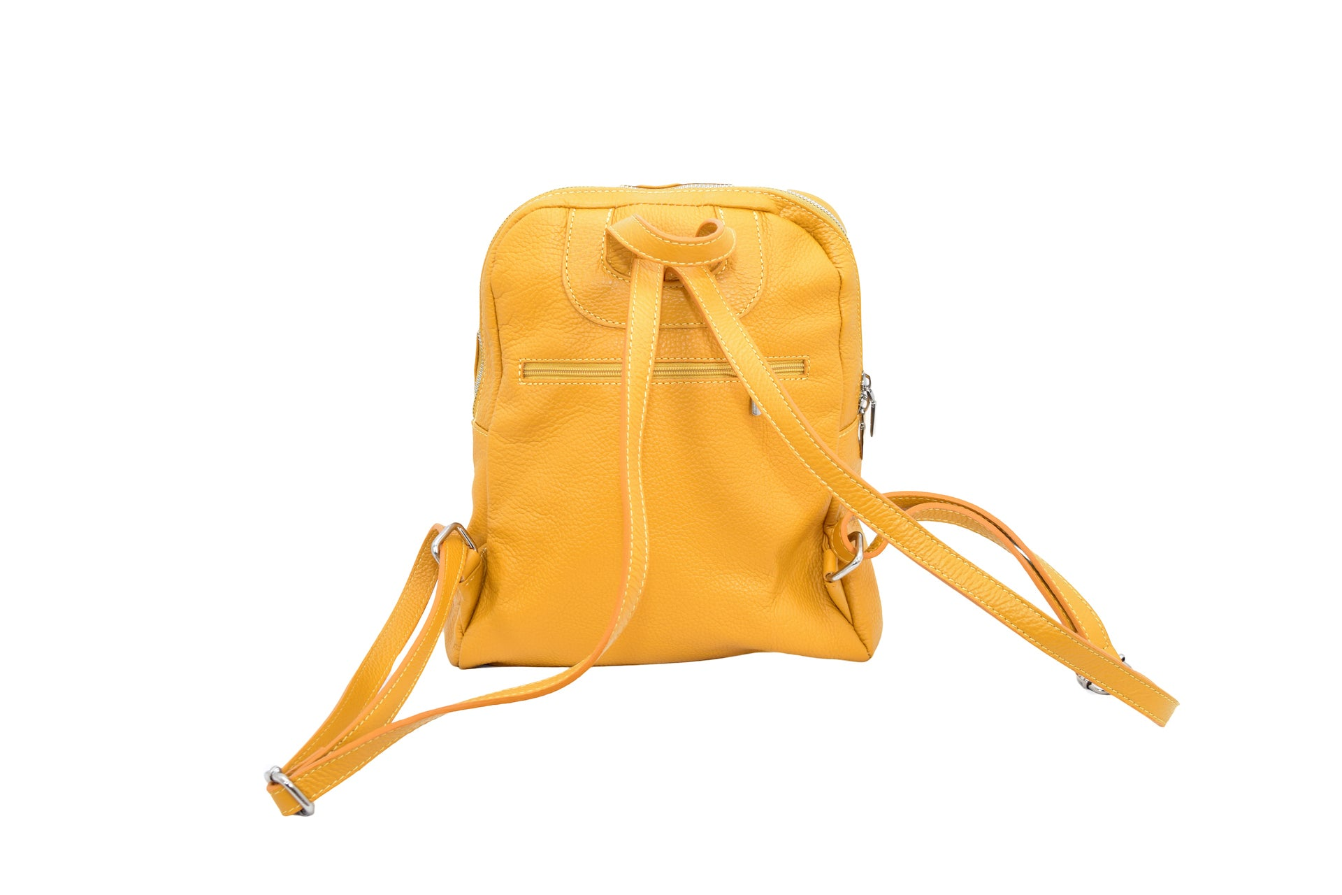 Yellow leather backpack with three external compartments and silver hardware