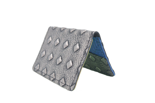 Silver Stud Pattern Unisex Handmade Oyster Travel Card Holder Wallet ID in Leather, Cowhide, Nubuck and Suede