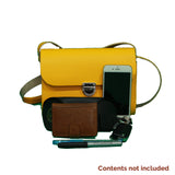 Small Dual colour satchel cross body handbag with clasp closure. Custom colour combinations can be requested