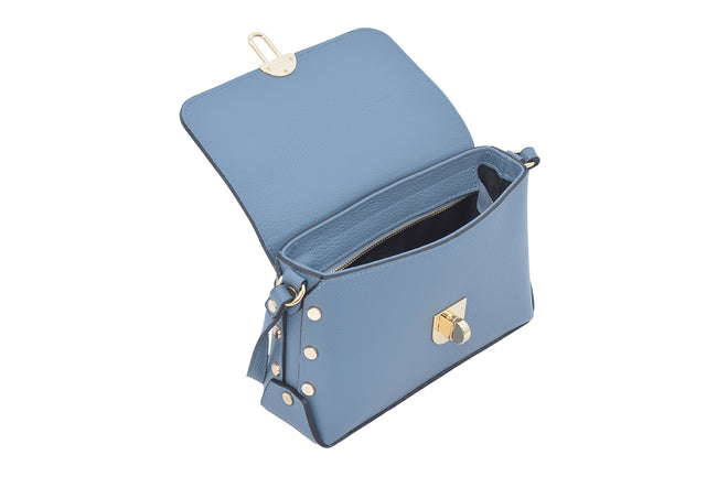 Denim Blue Real Leather Gold Studded Cross Body Bag/Shoulder bag/Adjustable shoulder strap