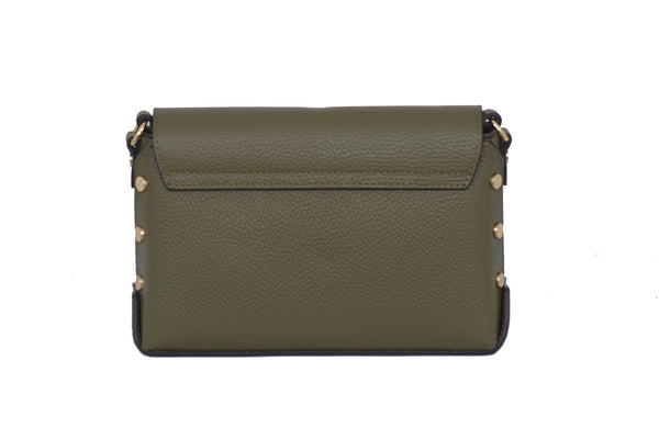 Olive Green Real Leather Gold Studded Cross Body Bag/Shoulder bag/Adjustable shoulder strap