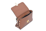 Tan Real Leather Gold Studded Cross Body Bag/Shoulder bag/Adjustable shoulder strap