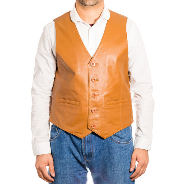 A traditional classic smart five button leather waistcoat.