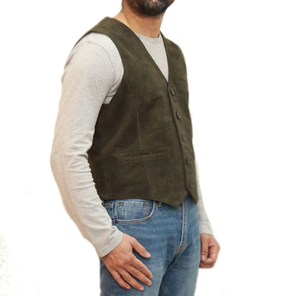 A traditional classic smart five button suede waistcoat.