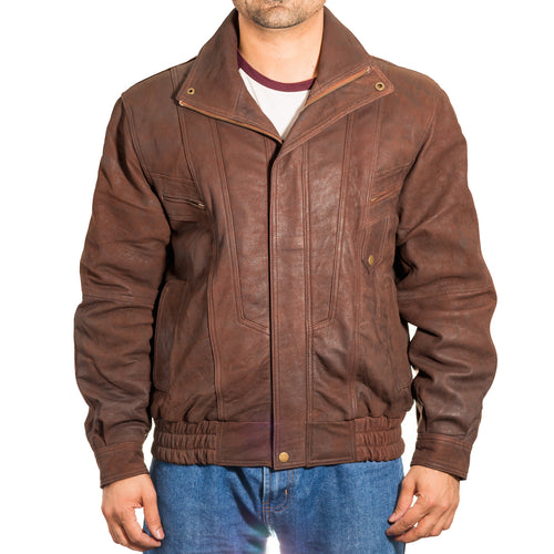 Mens bomber retro leather fitted short jacket.