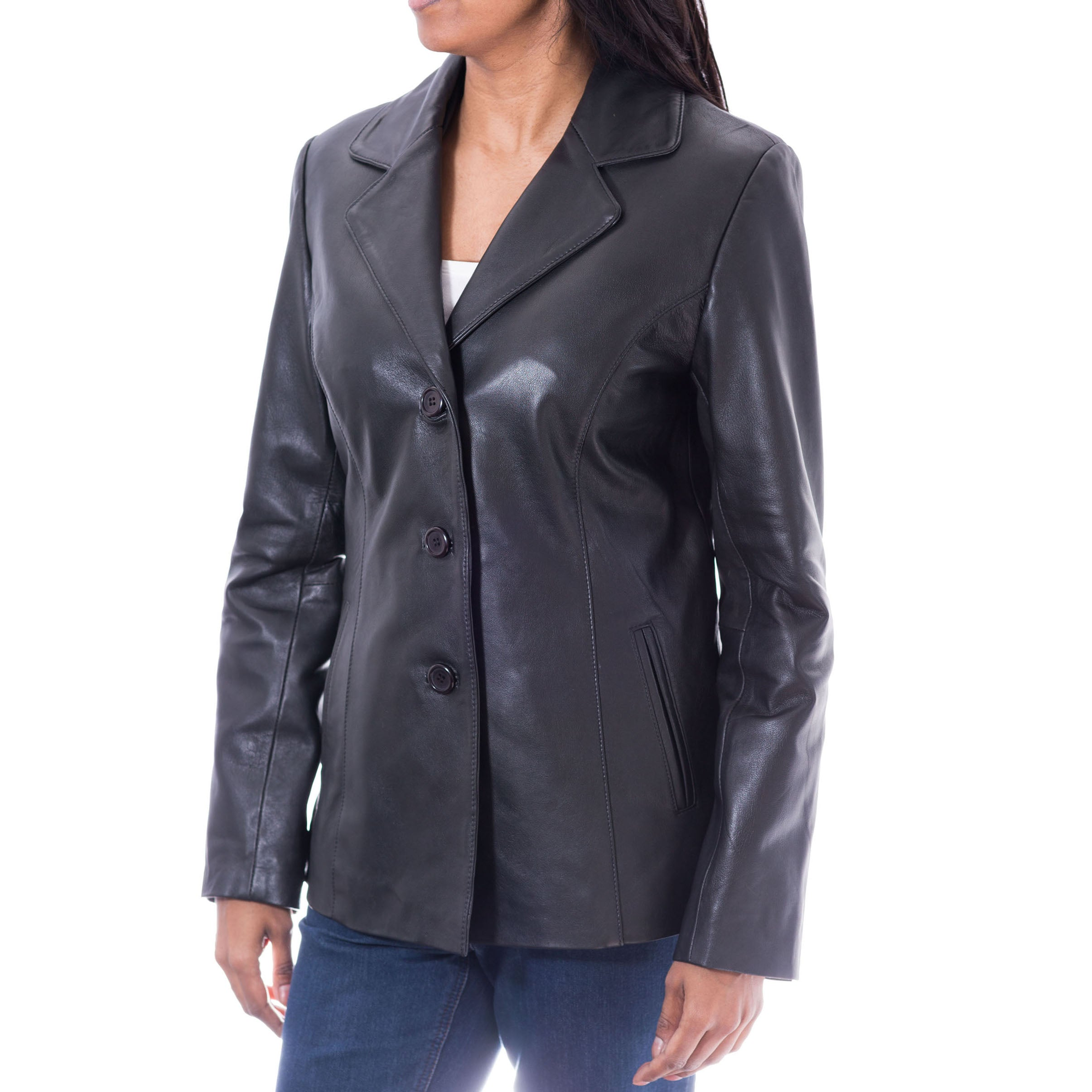 Womens smart three button tailored blazer