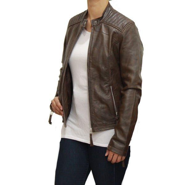 Womens biker jacket with vertical ribbed design on shoulders and tab collar fastening