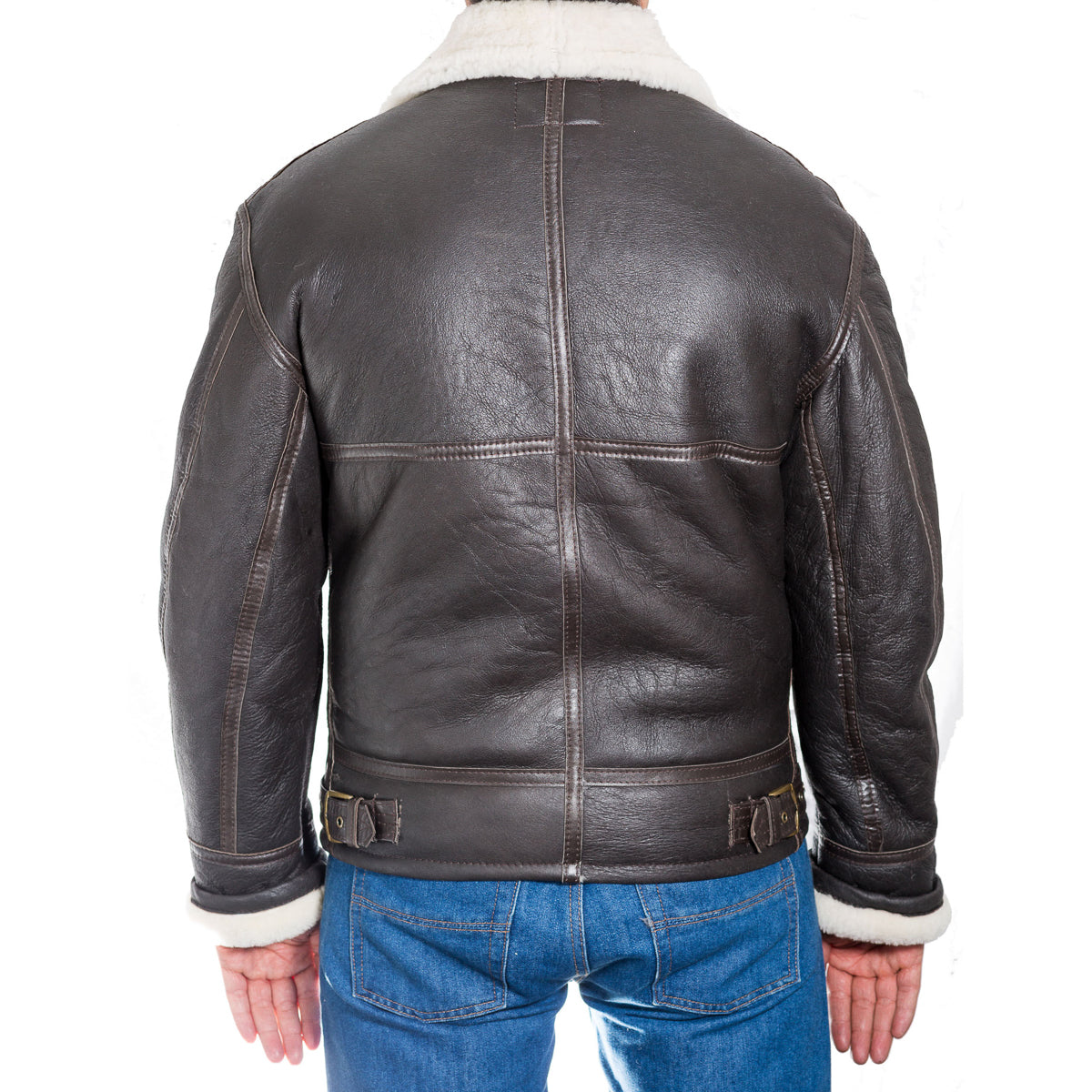 Mens leather flying aviator winter jacket with sheepskin lining.
