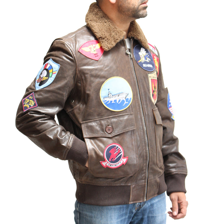 Mens Brown Leather Badges Top Gun Style Maverick Bomber Jacket with Sheepskin Collar