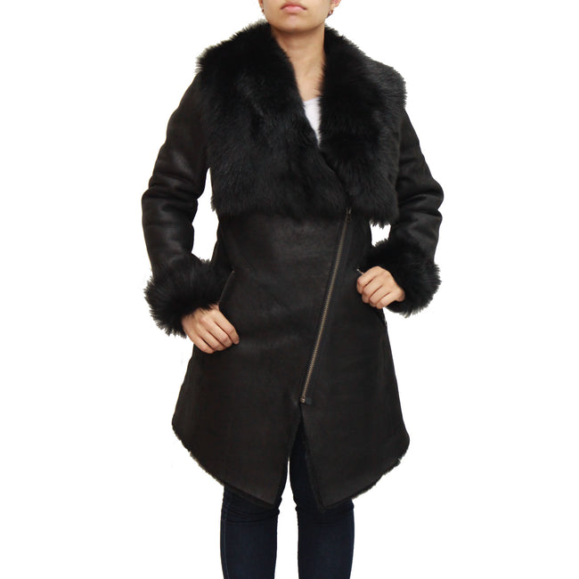Womens suede and sheepskin hooded biker coat with a beautiful open large collar