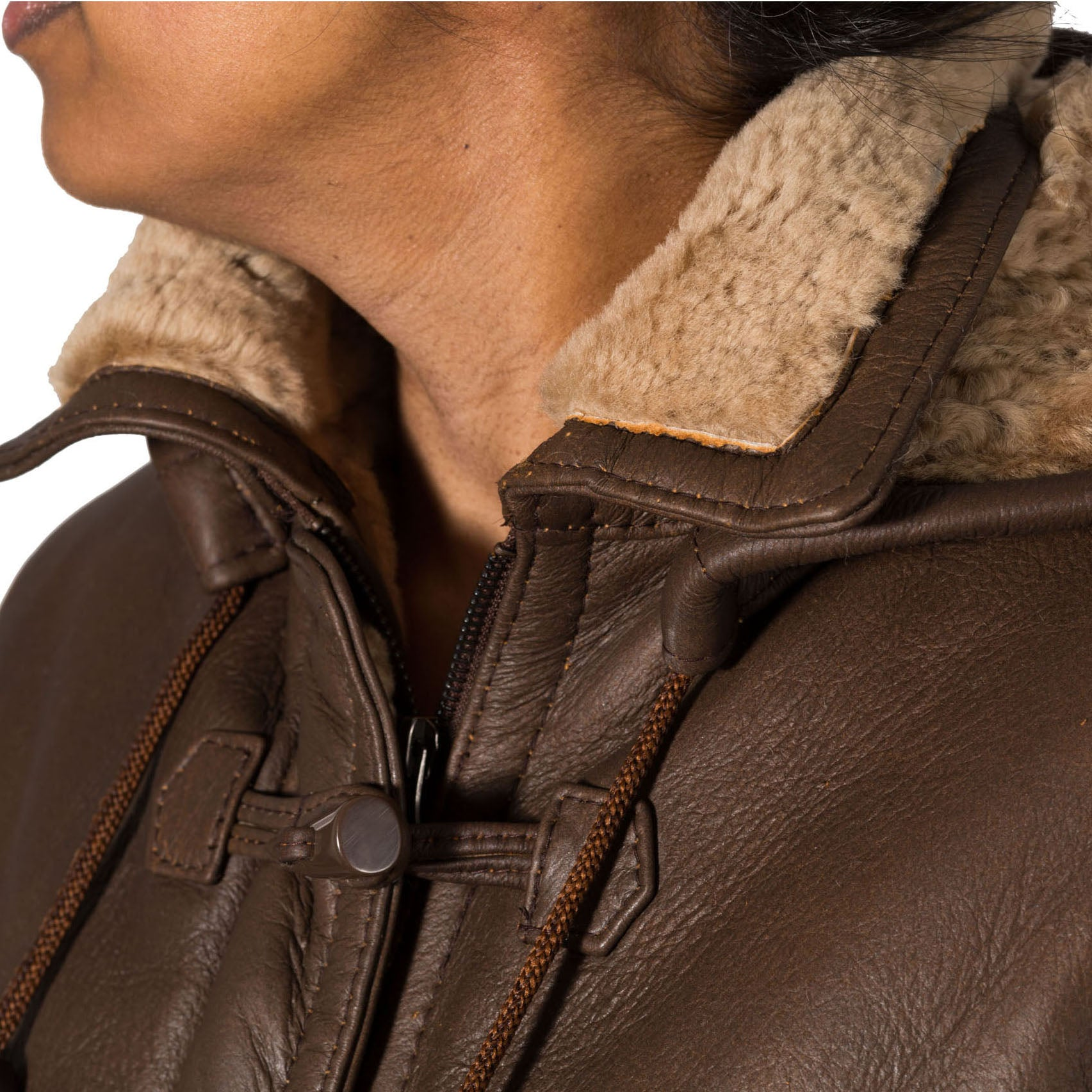 Womens brown and ginger 3/4 winter warm shearling sheepsking fitted duffle coat