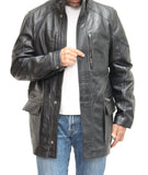 Mens Real Leather Belted Reefer Coat. Available in Black and Brown.